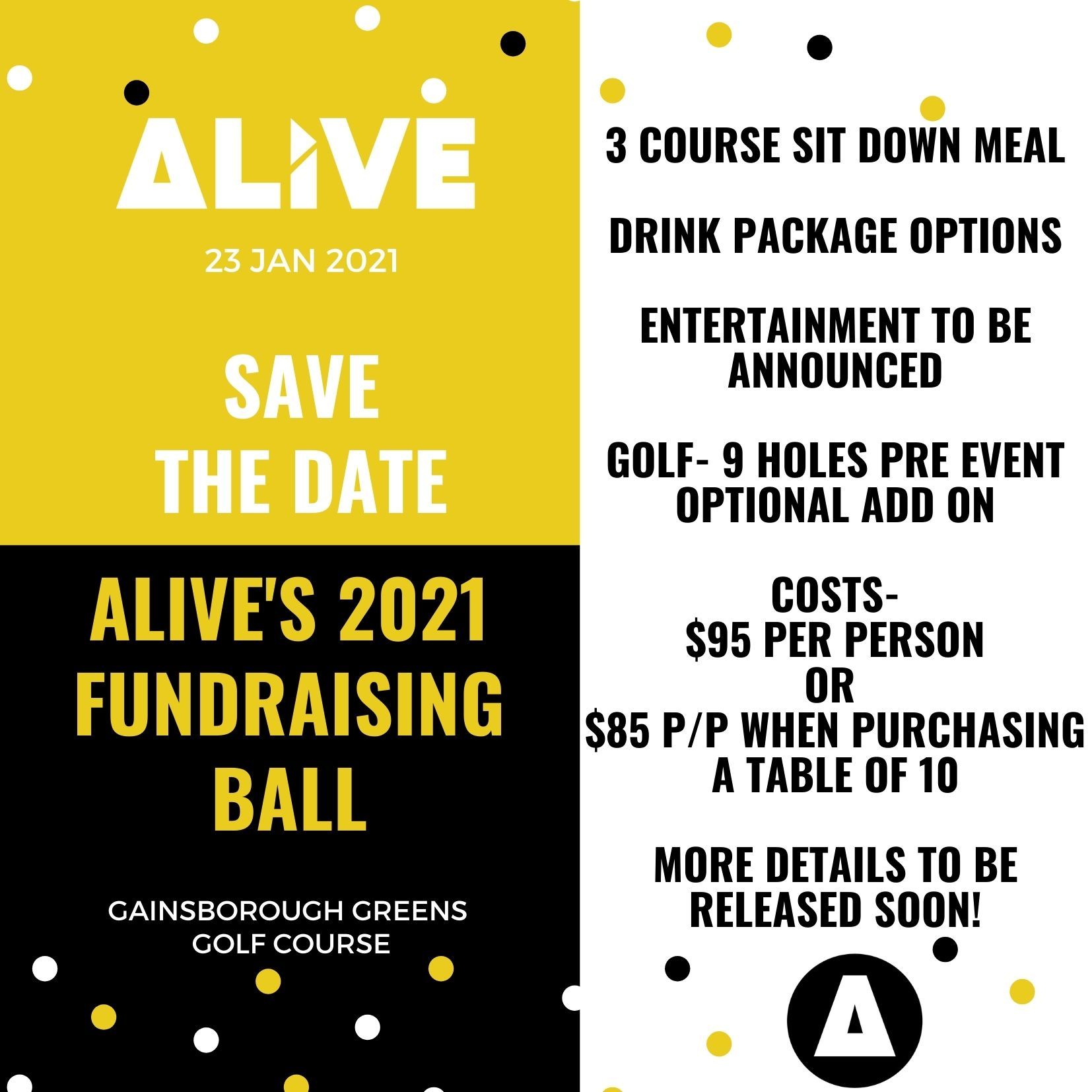 Save the date – ALIVE Ball 23 Jan 2021
